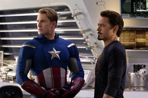 "Photo -   In this film image released by Disney, Chris Evans, portraying Captain America, left, and Robert Downey Jr., portraying Tony Stark, are shown in a scene from ""Marvel's The Avengers"" (AP Photo/Disney, Zade Rosethal)"