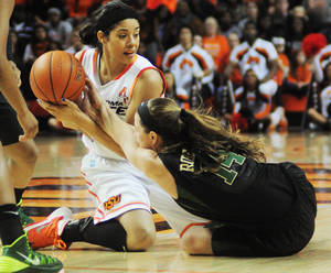 Photo - Oklahoma State's Brittney Martin (22) fights for a loose ball with Baylor's Makenzie Robertson (14) during an NCAA girl's college basketball game between Oklahoma State University (OSU) and Baylor at Gallagher-Iba Arena in Stillwater, Okla., Sunday, Jan. 26, 2014. Baylor defeated Oklahoma State in overtime 69-66. Photo by KT King, The Oklahoman