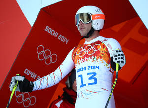 Photo - United States' Bode Miller prepares to start in a men's downhill training run for the 2014 Winter Olympics, Thursday, Feb. 6, 2014, in Krasnaya Polyana, Russia. (AP Photo/Alessandro Trovati)