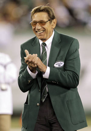 Photo - Former New York Jets quarterback Joe Namath, shown being honored at a Jets game in October, is the focus of a 90-minute documentary on HBO.  AP photo