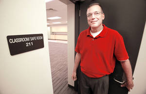 "photo - Principal Joel Read shows one of the currently surplus classrooms which double as ""safe"" rooms at the Early Childhood Center on Thursday, Aug. 16, 2012 in  Newcastle, Okla.     Photo by Steve Sisney, The Oklahoman"
