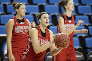 Photo - Nebraska's Jordan Hooper looks to shoot during practice for the NCAA women's college basketball tournament on Friday, March 21, 2014, in Los Angeles. Nebraska is scheduled to play Fresno State in a first-round game on Saturday. (AP Photo/Jae C. Hong)