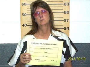 Photo - Rita Faye Harmon was booked into the Payne County Jail on complaints of endeavoring to manufacture methamphetamine within 2,000 feet of the Cushing Memorial Park, possession of methamphetamine within 1,000 feet of the Cushing Memorial Park and possession of drug paraphernalia. PHOTO PROVIDED <strong>PROVIDED</strong>
