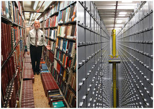 "photo - This combination of Associated Press file photos shows Steven Herman, left, head of the Library of Congress storage facility, at the Library of Congress in 2003, in Washington,  and right, a ""bookBot"", an automated retrieval system at the James B. Hunt Jr. Library at North Carolina State University in 2013, in Raleigh, N.C. Many middle-class workers have lost jobs because powerful software and computerized machines are doing tasks that only humans could do before. (AP Photo) ORG XMIT: NYBZ701"