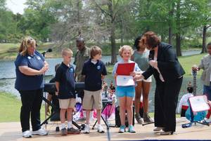 Photo -  St. Mary's Episcopal School received the Presidential Environmental Youth Award during Dallas Earth Day. Representing St. Mary's were, from left, instructor Donna MacKiewicz and students Caden Trammell, Jake Padgham and Marley Hall. PHOTO PROVIDED  <strong>PROVIDED</strong>