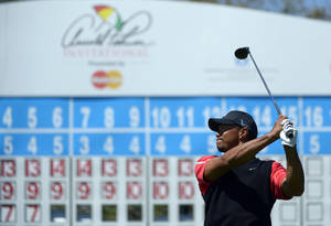 Photo - Tiger Woods watches his tee shot on the 15th hole during the final round of the Arnold Palmer Invitational golf tournament in Orlando, Fla., Monday, March 25, 2013. (AP Photo/Phelan M. Ebenhack) ORG XMIT: FLJR211