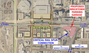Photo - This master plan, assembled by Jacobs Associates as part of studies for an intermodal hub at Santa Fe depot, shows how a potential garage to be built on surface lots north of Main Street (center right of the map) might interfere with future rail connections (markings made by rail advocate Marion Hutchison). <strong>Provided</strong>