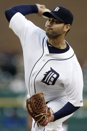 Photo -   Detroit Tigers starting pitcher Anibal Sanchez throws against the Kansas City Royals in the first inning of a baseball game in Detroit, Tuesday, Sept. 25, 2012. (AP Photo/Paul Sancya)