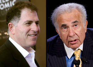 "Photo - FILE - Dell founder Michael Dell, left, in a Jan. 26, 2011 file photo, and Carl Icahn, in an Oct. 7, 2007 file photo, are seen in a combination photo. cahn is giving up his bitter takeover fight for Dell Inc. a few days before shareholders are scheduled to consider the latest buyout offer from the struggling computer maker's founder Michael Dell. Icahn said Monday, Sept. 9, 2013 in a letter to shareholders that he still thinks Michael Dell's bid to take his company private undervalues the business and freezes shareholders out of any future gains. But Icahn also said it would be ""almost impossible"" to defeat that offer in a vote scheduled for Thursday. (AP Photos/Virginia Mayo, Mark Lennihan, File)"