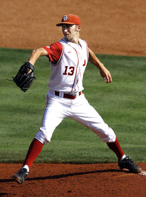 photo - Oklahoma's Dillion Overton throws a pitch during the Big 12 baseball tournament game between Oklahoma State University and the University of Oklahoma at the Chickasaw Bricktown Ballpark in Oklahoma City,  Wednesday, May 23, 2012. Photo by Sarah Phipps, The Oklahoman.
