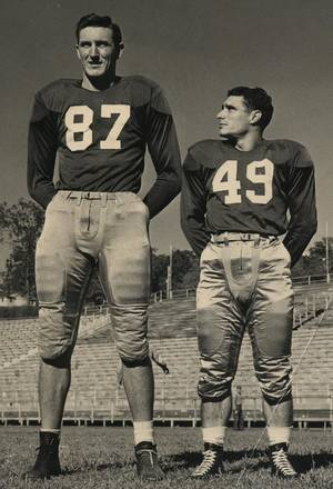 Photo - A WWII vet, Bob Ambler (left) went on the GI Bill to the University of Arkansas, where he lettered in football, basketball and track. He was 6 feet 8 inches tall and weighed 225 pounds. <strong> - PHOTO PROVIDED</strong>