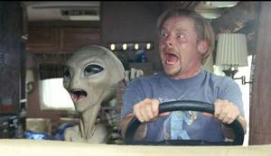 "Photo - Paul the alien (voiced by Seth Rogen) and Simon Pegg are shown in a scene from the film ""Paul."" Universal Pictures photo <strong>Photo Credit: Double Negative/Un</strong>"
