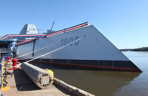 "Photo - Zumwalt DDG 1000 the first Zumwalt Class Multi-Mission Destroyer is seen before its christening ceremony Saturday, April 12, 2014 at Bath Iron Works in Bath, Maine. The ship is named after Admiral Elmo ""Bud"" R. Zumwalt Jr., who served as Chief of Naval Operations from 1970-1974. (AP Photo/Joel Page)"
