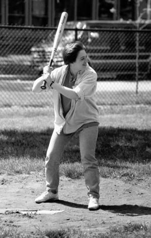 Photo - The Wall Street Journal has been criticized for running this photo of Supreme Court nominee Elena Kagan on its front page on Tuesday. Kagan's shown in 1993 playing a game of softball at the University of Chicago Law School, where she was an assistant professor. AP ARCHIVE PHOTO