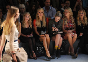 Photo -   Celbrities, seated from left, AnnaSophia Robb, Paris Hilton, Cory Kennedy, Ali Wise and Rachel Zoe attend the Charlotte Ronson spring 2013 show, Friday, Sept. 7, 2012 in New York. (Photo by Diane Bondareff/Invision/AP)