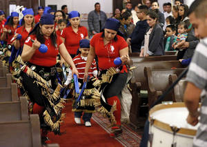 photo - Matachines dance at the beginning of Mass during the Feast of Our Lady of Guadalupe at St. Joseph Old Cathedral, 307 NW 4,  in Oklahoma City, Wednesday, Dec. 12, 2012. Photo by Nate Billings, The Oklahoman