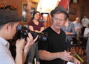 "Photo -  William H. Macy on the set of ""Rudderless,"" a film shot in-state that utilized the film tax credit."