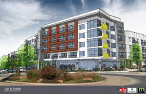Photo - The $42.5 million, 327-unit apartment complex set to begin construction in April at NW 10 and Shartel will include ground floor retail facing the round-about intersection. <strong>ADG</strong>