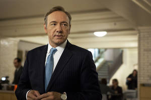 "Photo - This image released by Netflix shows Kevin Spacey as U.S. Congressman Frank Underwood in a scene from the Netflix original series, ""House of Cards.""  Spacey was nominated for an Emmy Award for best actor in a drama series on, Thursday July 18, 2013. The Academy of Television Arts & Sciences' Emmy ceremony will be hosted by Neil Patrick Harris. It will air Sept. 22 on CBS. (AP Photo/Netflix, Melinda Sue Gordon) ORG XMIT: NYET365"