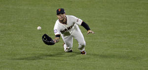 Photo -   San Francisco Giants' Gregor Blanco makes a diving catch on a ball hit by Detroit Tigers' Prince Fielder during the sixth inning of Game 1 of baseball's World Series Wednesday, Oct. 24, 2012, in San Francisco. (AP Photo/Eric Risberg)