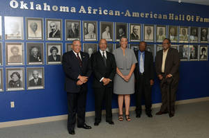 "Photo - 2012 Oklahoma African-American Hall of Fame inductees include, from left, Leonard D. Benton, Dr. George Henderson, Angela Z. Monson and Theodore ""Ted"" Logan. Walter Ogles, far right, is standing in for posthumous inductees John and Ophelia Gower. Not pictured is inductee Marilyn Murrell. PHOTO PROVIDED"