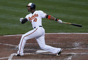 photo -   Baltimore Orioles' Adam Jones watches his two-run home run in the fourth inning of the first baseball game of a doubleheader against the Toronto Blue Jays in Baltimore, Monday, Sept. 24, 2012. (AP Photo/Patrick Semansky)
