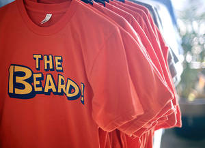 Photo - James Harden T-shirts are shown at Tree And Leaf Clothing earlier this year. PHOTO BY SARAH PHIPPS,  THE OKLAHOMAN