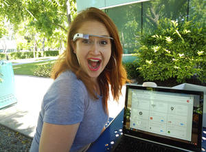 Photo - Google employee Svetlana Saitsky gets excited about Google Glass when she shows new Glass Explorers how to work the device. PHOTO BY LILLIE-BETH BRINKMAN, THE OKLAHOMAN. <strong></strong>