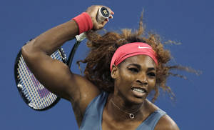 Photo - Serena Williams, of the United States, watches a return to Carla Suarez Navarro, of Spain, during a quarterfinal of the U.S. Open tennis tournament, Tuesday, Sept. 3, 2013, in New York. (AP Photo/Charles Krupa)