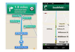 photo -   These screenshots taken Monday, Oct. 1, 2012 show Apple's maps app on an iPhone, left, and Google's on an Android device during a drive in Dearborn, Mich. Both have voices guiding motorists to upcoming turns, in this case onto Southfield Road in about two miles. An AP review finds the Google app, on the right, having more features, though Apple's app does a good job for the most part getting people to their destination. (AP Photo)