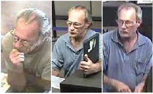 photo - These surveillance photos provided by the Federal Bureau of Investigation&#039;s St. Louis Division shows a serial bank robber dubbed the Bucket List Bandit on, from left: June 21, June 27 and July 6, 2012. The FBI is using digital billboards around the country in the search for the man who is suspected of robberies in Missouri, Colorado, Arizona, Idaho, Utah, North Carolina, Tennessee and Illinois. He earned his nickname after he passed a note in one of the robberies claiming he had a short time to live.  (AP Photo/FBI)