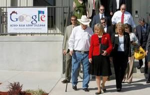 Photo - Gov. Mary Fallin leads a group out of the new Google Inc. data center Thursday in Pryor. Photo by MATT BARNARD, Tulsa World
