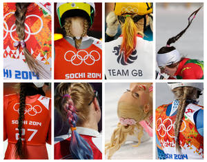 Photo - This combination photo shows various hairstyles worn by Olympic athletes at the 2014 Winter Olympics in Sochi, Russia. Top row, from left; Canada's Marie-Pier Prefontaine, women's super-G; Norway's Gyda Enger, normal hill ski jumping; Elise Christie of Britain, 500m short track speedskating; Canada's Daria Gaiazova,  4x5K cross-country relay; bottom row, Russia's Irina Avvakumova, normal hill ski jumping; United States' Jessica Diggins, 4x5K cross-country relay; Stacey Kemp of Britain, pairs short program figure skating; and Norway's Ragnhild Mowinckel, downhill. (AP Photo)