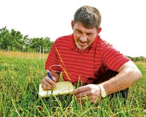 photo - Twain Butler examines tall fescue plants as part of a field test. Photo provided
