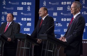 Photo - Republican New York mayoral candidates, from left, John Catsimatidis, Joe Lhota, and George McDonald participate in a televised debate in New York Wednesday, Aug. 28, 2013. (AP Photo/Craig Ruttle)