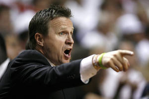 photo - Oklahoma City head coach Scott Brooks coaches during Game 5 of the NBA Finals between the Oklahoma City Thunder and the Miami Heat at American Airlines Arena, Thursday, June 21, 2012. Photo by Bryan Terry, The Oklahoman