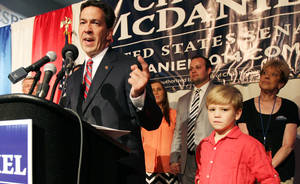 Photo - Chris McDaniel addresses his supporters after falling behind in a heated GOP primary runoff election against incumbent U.S. Senator Thad Cochran on Tuesday June 24, 2014 at the Lake Terrace Convention Center in Hattiesburg, Miss.  (AP Photo/George Clark)