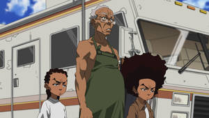 "Photo - This image released by Adult Swim shows characters, from left, Riley Granddad and Huey in a scene from the ""Breaking Granddad"" episode of the animated series ""The Boondocks,"" airing Monday, April 21 on Adult Swim.  (AP Photo/Adult Swim)"
