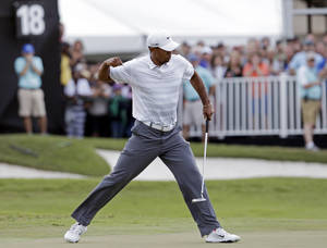photo - Tiger Woods pumps his fist after making birdie putt on the 18th hole during the third round of the Cadillac Championship golf tournament Saturday, March 9, 2013, in Doral, Fla. (AP Photo/Alan Diaz)