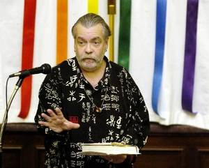 "Photo - Joe Quigley emphasizes a point while speaking during the Oklahoma City gay, lesbian, bisexual and transgendered third annual ""State of Our Community"" meeting at the Epworth United Methodist Church in Oklahoma City, Monday, January 30, 2006. Photo by Matt Strasen"