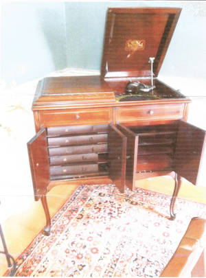 Photo - This crank-operated record player was made about 1920. Photo provided