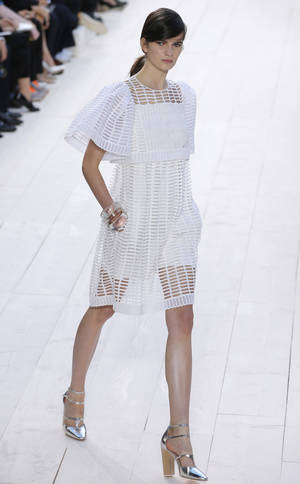 Photo -   A model wears a creation by fashion designer Clare Waight Keller for Chloe's ready to wear Spring-Summer 2013 collection, presented in Paris, Monday, Oct. 1, 2012. (AP Photo/Francois Mori)