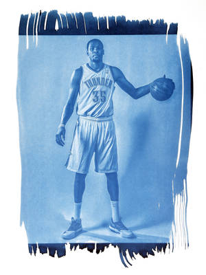 Photo - Oklahoma City's Kevin Durant (35) is shown in this cyanotype print made from a photo taken during the Oklahoma City Thunder media day on Friday, Sept. 27, 2013, in Oklahoma City. Photo by Chris Landsberger, The Oklahoman. Cyanotype print by Nate Billings, The Oklahoman