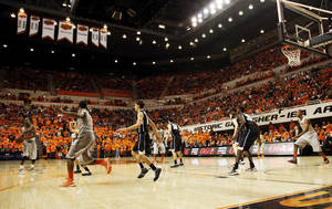 Photo - A view of the arena during a men's college basketball game between Oklahoma State University (OSU) and Gonzaga at Gallagher-Iba Arena in Stillwater, Okla., Monday, Dec. 31, 2012. Gonzaga won, 69-68. Photo by Nate Billings, The Oklahoman