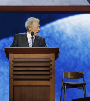 Photo -   Actor Clint Eastwood addresses the Republican National Convention in Tampa, Fla., on Thursday, Aug. 30, 2012. (AP Photo/Charles Dharapak)
