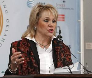 photo - File photo - Gov. Mary Fallin in the Blue Room of the state Capitol in Oklahoma City, OK, Monday, November 19, 2012, By Paul Hellstern