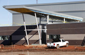 Photo - OKLAHOMA CITY THUNDER / NBA BASKETBALL TEAM / BUILDING / CONSTRUCTION: Most of the brick work has been completed on the new Thunder Practice Facility in Oklahoma City, OK, Tuesday, Nov. 16, 2010. By Paul Hellstern, The Oklahoman ORG XMIT: KOD