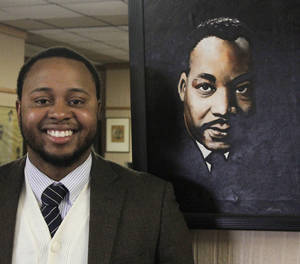 photo - Above: Langston University student Kavaris Sims was voted Mr. Langston in 2012 and is studying computer science. Sims said he is grateful to Martin Luther King Jr. and tries to live an example of his legacy. Photo by Jonathan Sutton, The Oklahoman