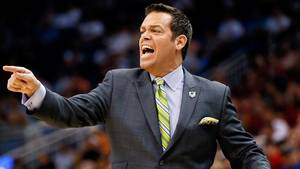 Photo - ORLANDO, FL - MARCH 20:  Head coach Steve Masiello of the Manhattan Jaspers shouts to his players against the Louisville Cardinals during the second round of the 2014 NCAA Men's Basketball Tournament at Amway Center on March 20, 2014 in Orlando, Florida.  (Photo by Kevin C. Cox/Getty Images)
