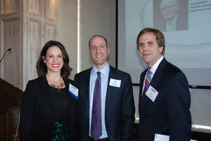 Photo -  Jeff Manno (center) of Chicago-based Inland American Real Estate Trust visits with Price, Edwards & Company agents Laci Jackson and Jim Parrack after Manno's keynote Thursday to the Commercial Real Estate Council. PHOTO PROVIDED     <strong> -   </strong>